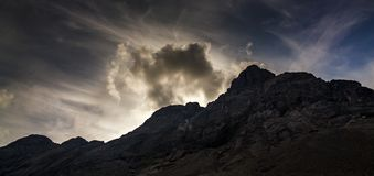 Top mountain Khibiny in the form of a background of the cloud. Y sky Stock Image