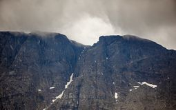 Top mountain Khibiny in the form of a background of the cloudy. Sky Royalty Free Stock Photos