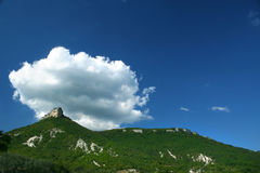 Top of a mountain, lblue sky and cloud /  panorama Stock Photos