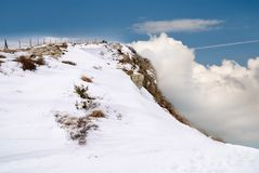 Top of the mountain over the clouds Royalty Free Stock Photography