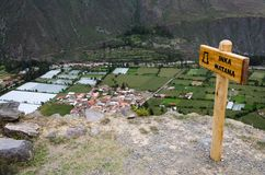 At the top of the mountain in the ruins of Ollantaytambo royalty free stock image