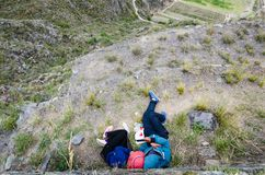 At the top of the mountain in the ruins of Ollantaytambo stock photo