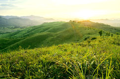 The top of the mountain scenery. Standing at the top of the mountain, experience the wonderful sun Stock Photography