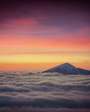 Top of the mountain among a sea of fog Royalty Free Stock Photos