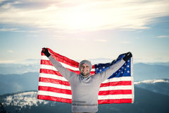 Top of the mountain with USA flag Stock Photo