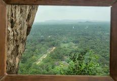 Top mountain view from Sigiriya rock to rural road in Sri Lanka. UNESCO world heritage site.  Royalty Free Stock Image