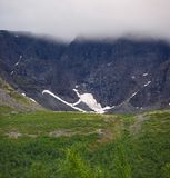 The top of the mountains in the clouds , Khibiny ,. Kola Peninsula Royalty Free Stock Image