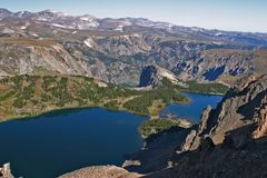 Top of mountains in Montana. Looking off the top of a mountain in Montana over a lake Stock Images