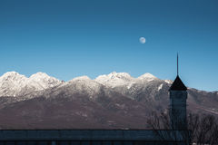 Top of mountains ,moon Royalty Free Stock Image