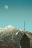 Top of mountains ,moon ,vintage Royalty Free Stock Photo