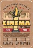 Cinema festival retro poster with gold movie award vector illustration