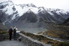 Top of mt cook new zealand stock photo