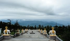 Top of Mt. Emei. Mt. Emei is located in Leshan City, Sichuan Province of China.There are many white elephants on the top,about Buddhism.We call it Jinding Stock Photography