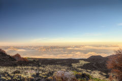 On the top of Mt. Etna. A wide panorama from the Volcano Etna, with the Nebrodi Mountains in the background Royalty Free Stock Photography