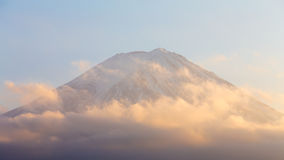 Top of Mt.Fuji close up during sunset stock image
