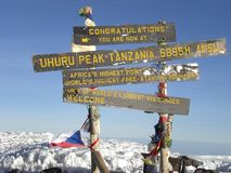 Top of Mt. Kilimanjaro, the roof of Africa. Mt. Klilimanjaro, the highest mountain of Africa. Horizontal  view Stock Photo