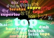 Top multilanguage wordcloud background concept glowing Stock Image