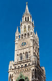 Top of Munich city hall bell tower in Bavaria Stock Photos