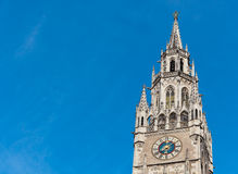 Top of Munich city hall bell tower in Bavaria Stock Images