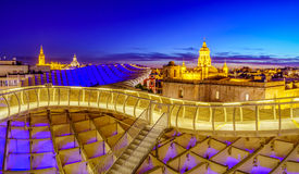 On Top of the Mushroom. From the top of the Space Metropol Parasol & x28;Setas de Sevilla& x29; one have the best view of the city of Seville, Spain. It provides Royalty Free Stock Photos