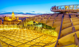 On Top of the Mushroom. From the top of the Space Metropol Parasol & x28;Setas de Sevilla& x29; one have the best view of the city of Seville, Spain. It provides Royalty Free Stock Images