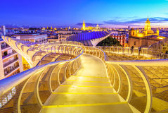 On Top of the Mushroom. From the top of the Space Metropol Parasol & x28;Setas de Sevilla& x29; one have the best view of the city of Seville, Spain. It provides Royalty Free Stock Image