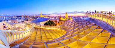 On Top of the Mushroom. From the top of the Space Metropol Parasol & x28;Setas de Sevilla& x29; one have the best view of the city of Seville, Spain. It provides Stock Photos