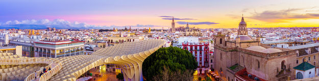 On Top of the Mushroom. From the top of the Space Metropol Parasol & x28;Setas de Sevilla& x29; one have the best view of the city of Seville, Spain. It provides Stock Image