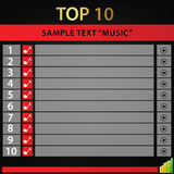 Top 10 music / vectore background. Vector background top 10 music, 10 listing Stock Photo