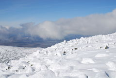 Top of Mustag mountain. Snow stones on top of Shoria mountains Stock Images