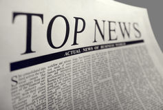 Top news. On a newspaper page Royalty Free Stock Photography