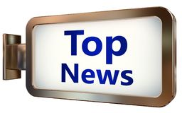 Top News on billboard background. Top News wall light box billboard background , isolated on white Stock Photography