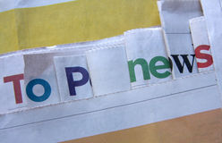 Top news letters. On the newspapers Stock Images