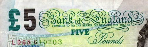 Top of £5 note Royalty Free Stock Photography