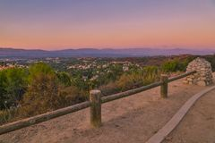 Topanga Overlook. The Top O` Topanga Overlook with views of the mountains and the San Fernando Valley royalty free stock photos