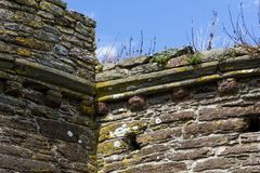 Free Top Of The Exterior Wall Of Bayard's Cove Fort, With Blue Sky; River Dart, Dartmouth, Devon, England. Royalty Free Stock Images - 143509149