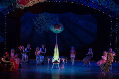 The top of the oil paper umbrella-Acrobatic showBaixi Dream Night Stock Photos