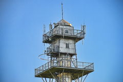 Top of old parachute jump tower at the Cetatuia hill from Cluj. Stock Image