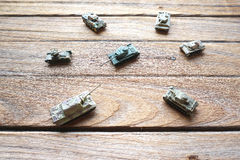 Top of old toy tanks Royalty Free Stock Photos