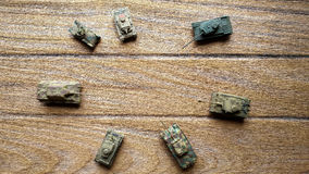Top of Old toy tanks Stock Photography