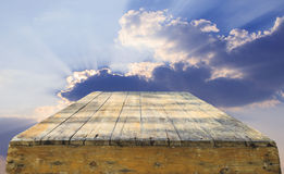 Top of old wood table against beautiful sky with copy space use Royalty Free Stock Photo