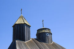 Top of an Old Wooden Church Stock Photo