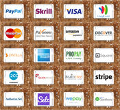 Top online payment services and systems logos and vector Stock Photo