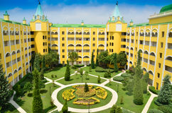 Hotel palace. Top overview of resort garden Stock Image