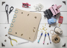 The top of the page in a scrapbook. And tools for scrapbooking Royalty Free Stock Photography