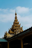 Top of pagoda made from wooden. Pagoda in myanmar made from wood Royalty Free Stock Photos