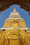 The top of pagoda in Wat Mahathat. The pagoda in Wat Mahathat at Nakhonpanom, Thailand stock photography
