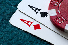 Top pairs of aces Stock Photography