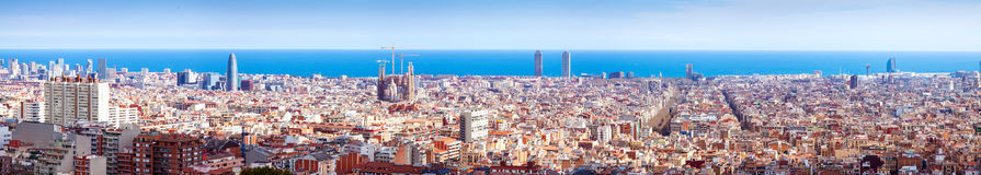 Top panoiramic kind of Barcelona in sunny day Royalty Free Stock Images