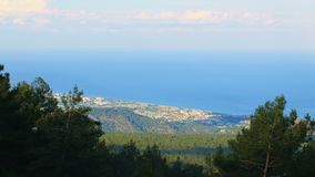 Top panorama of the Turkish Riviera, from mountains, Turkey, Kemer, Kiris. Top panorama of the Turkish Riviera, from mountains of Beydaglari National Park stock video footage